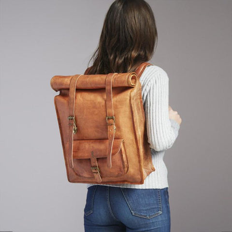 Rolltop Backpack Fair Trade Large Leather