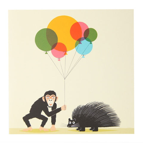 Celebration Chimp & Porcupine Greeting Card