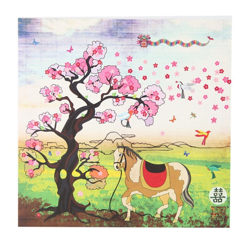 Cherry Blossom Tree & Horse Card