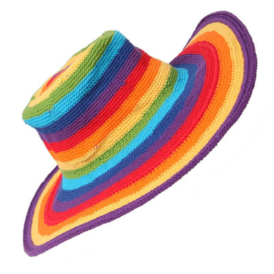 Wide Brimmed Crochet Rainbow Hat
