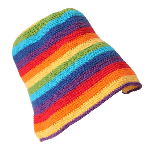 Crochet Rainbow Bucket Hat