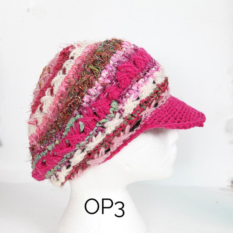 Slouchy Beanie Hat With Peak