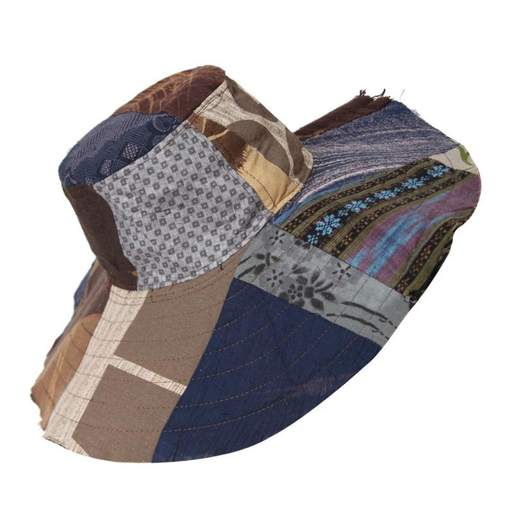 Wide Brim Patchwork Hat