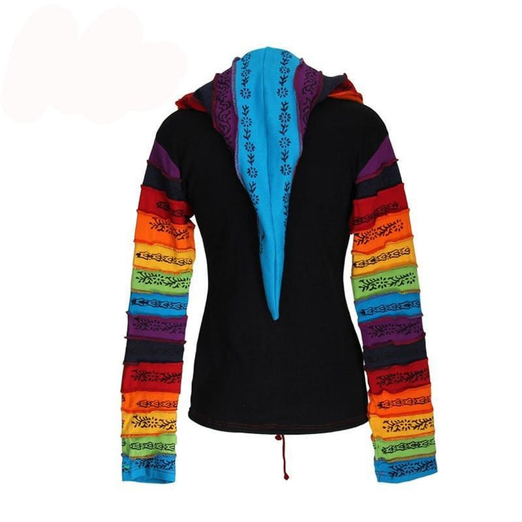 Black Hooded Top - Rainbow Stripes On Pocket And Sleeve, Back