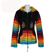 Black Hooded Top - Rainbow Stripes On Pocket And Sleeve