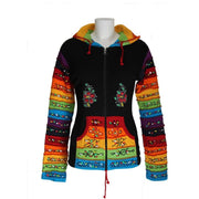 Hooded Top - Rainbow Stripes On Pocket And Sleeve