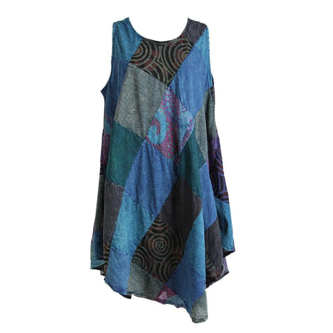 Sleeveless Patchwork Smock Dress