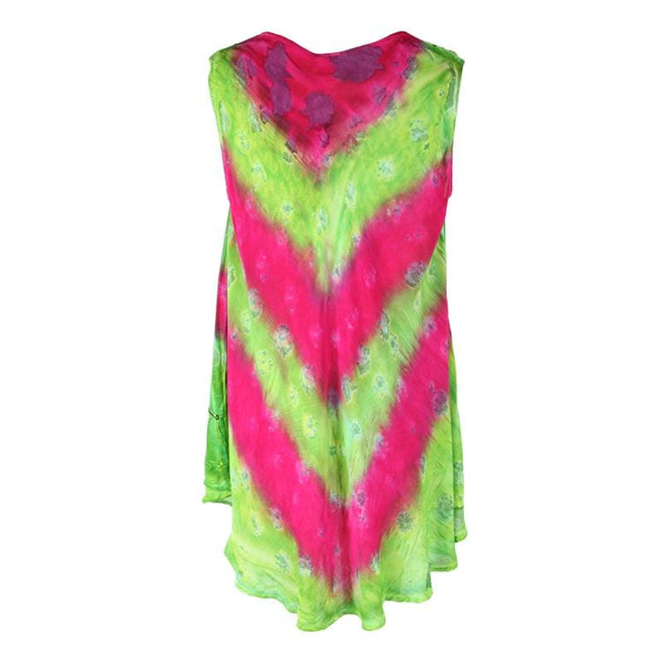 Sleeveless Embroidered Tie Dye Top