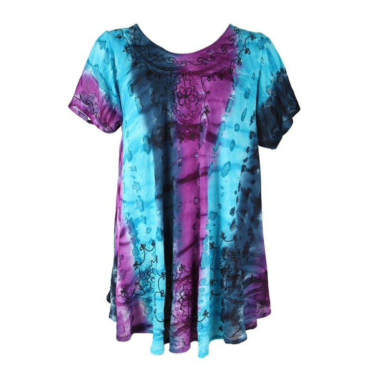 Embroidered Tie Dye Tunic