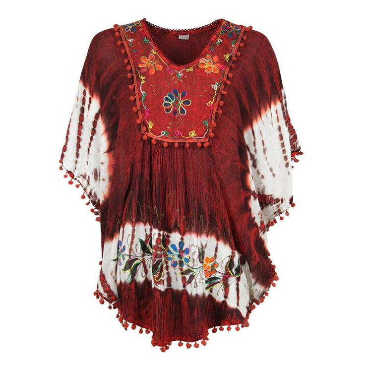 Embroidered Tie Dye Poncho Top