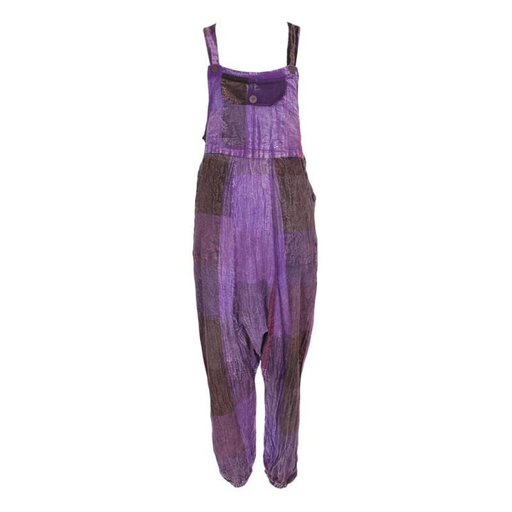 Purple Check Harem Dungarees