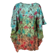 Dip Dye Embroidered Poncho