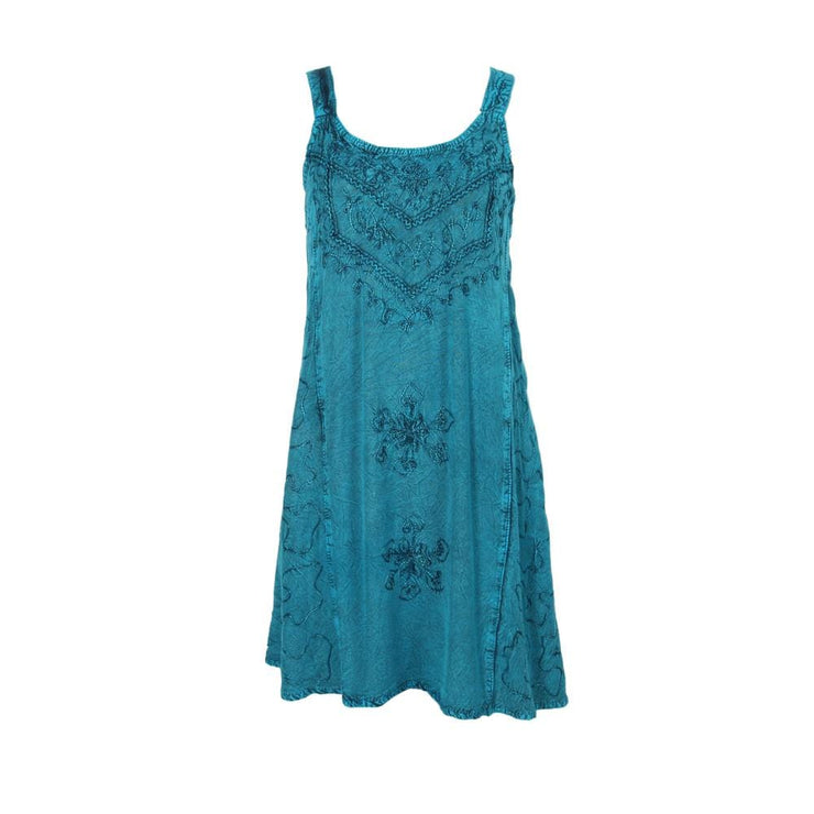 Embroidered Midi Strap Dress