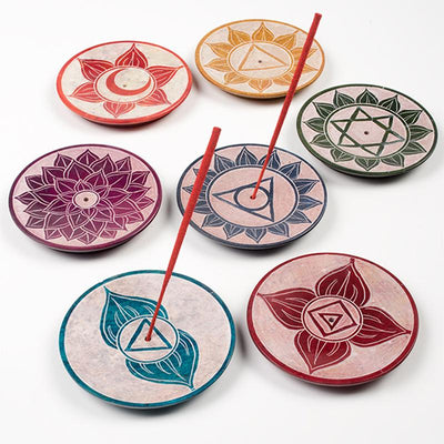 Hand Carved Soapstone Chakra Incense Plates
