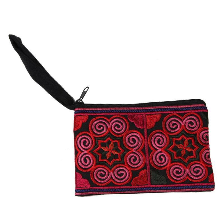 Embroidered Spiral Mandala Coin Purse