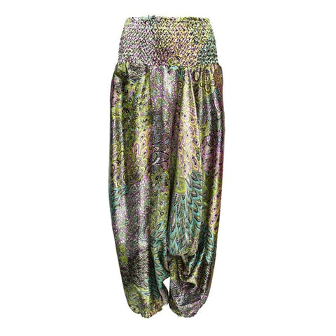Patterned Satin Low Harem Pants