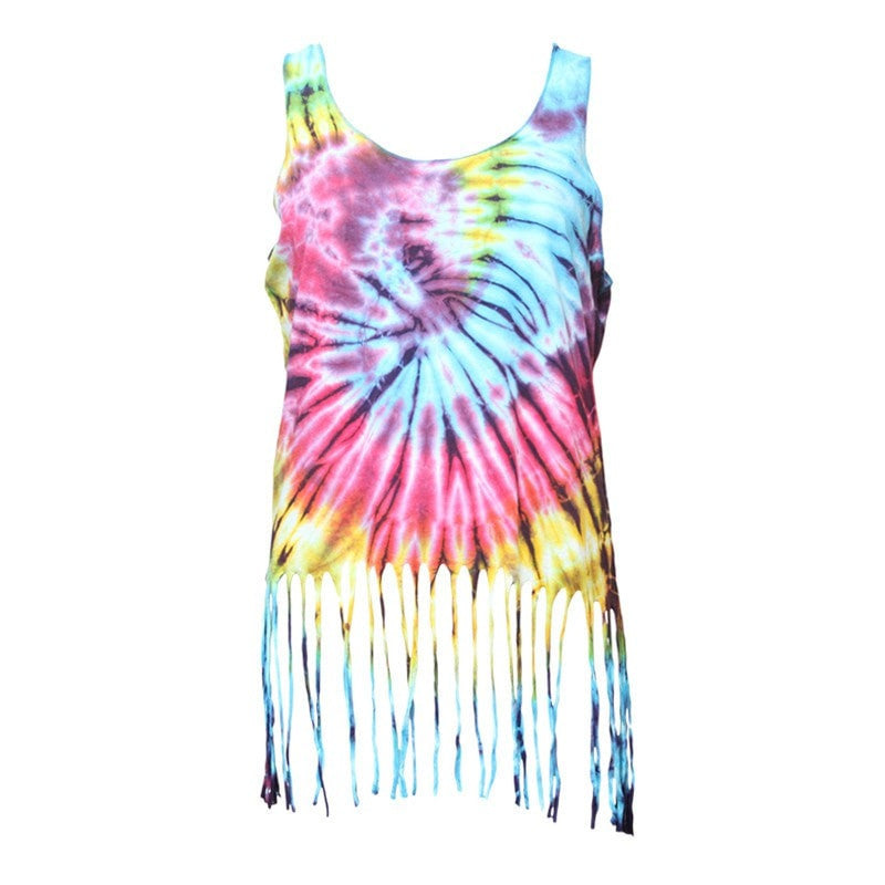 Tie Dye Top With Fringed Hem