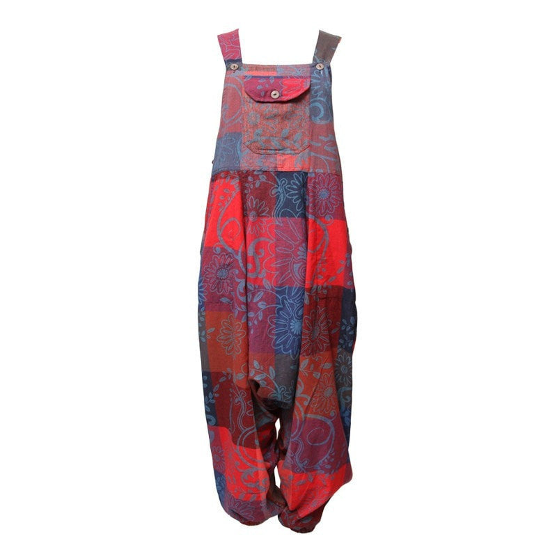 Floral Check Cropped Harem Dungarees