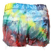 Reclaimed Tie Dye Denim Shorts