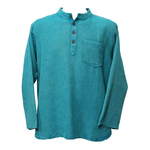 Oversized Teal Grandad Collar Shirt