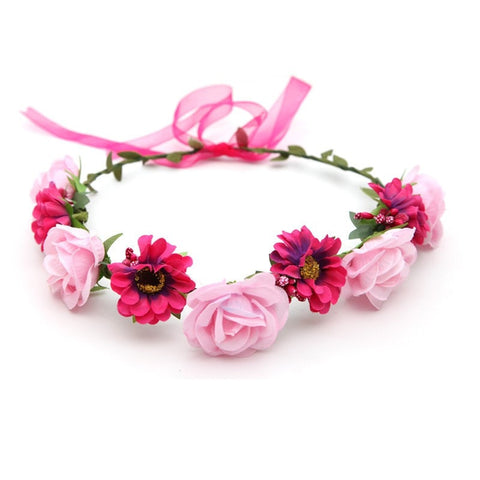 Pink Flowers Hair Garland
