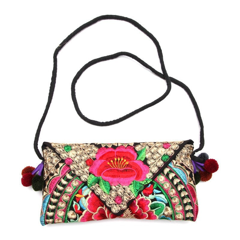 Embroidered Floral Cross Body Bag