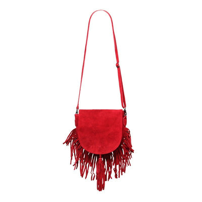 Red Suede Fringe Saddle Bag