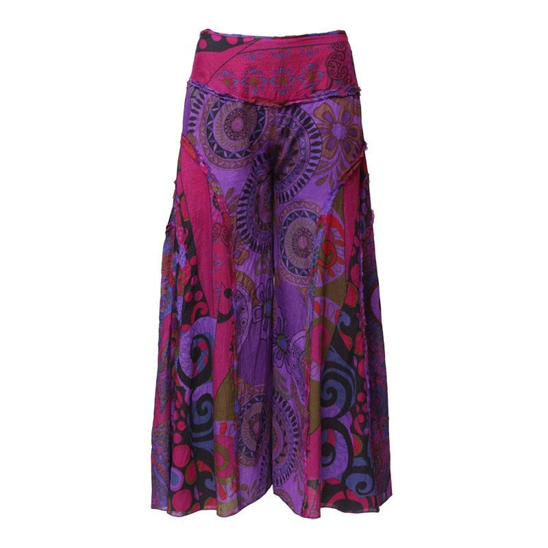 Purple Floral Wide Leg Palazzo Pants