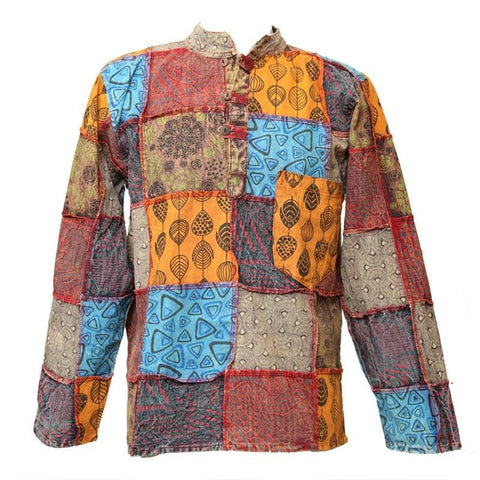 Patterned Patchwork Collarless Shirt