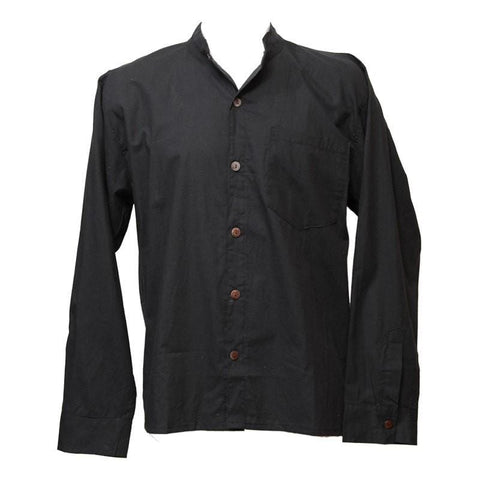 Premium Cotton Black Collarless Shirt