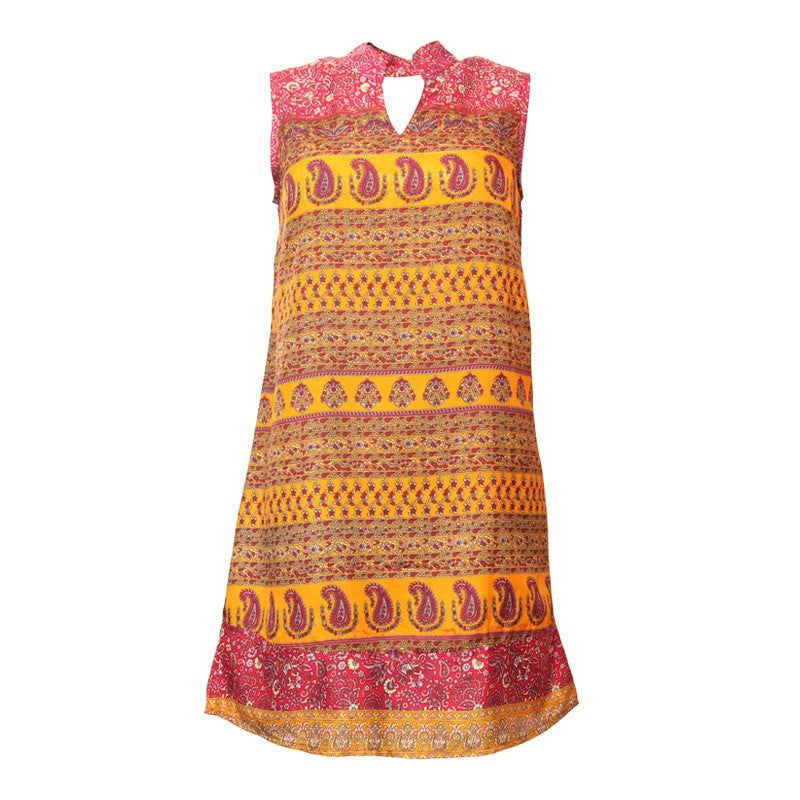 Paisley V High Neck Shift Dress