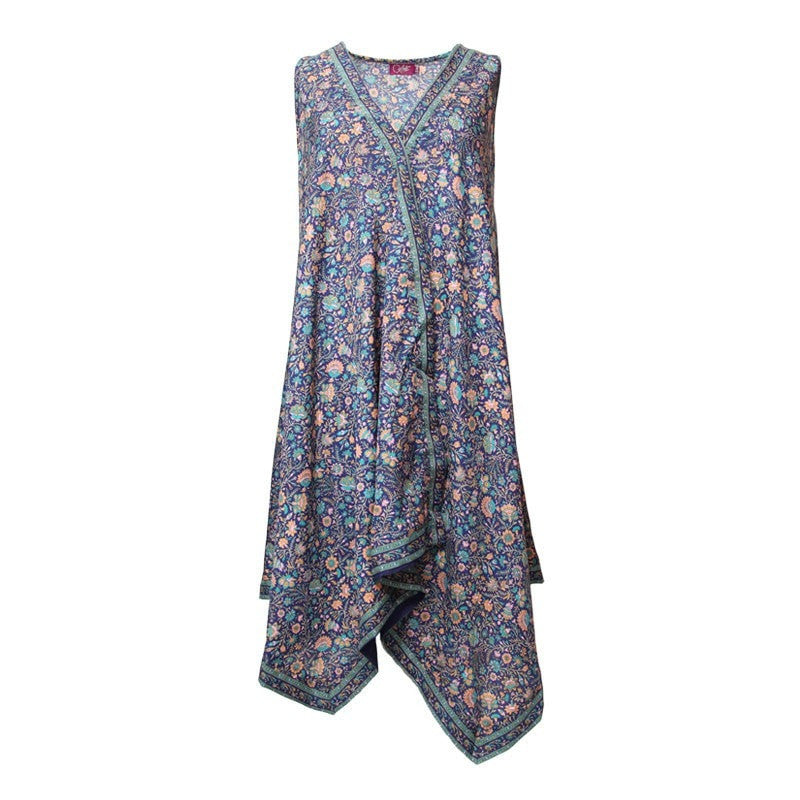 Hanky Hem Sleeveless Floral Dress