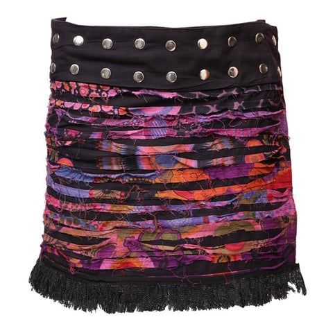 Grunge Fringe Popper Wrap Skirt