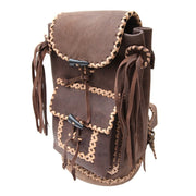 Recycled Leather Tassel Backpack
