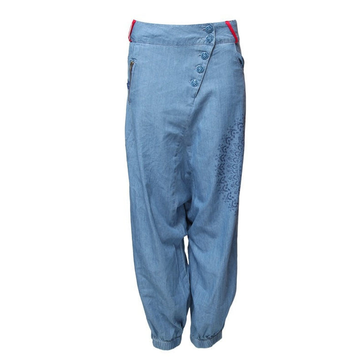 Low Denim Harem Pants
