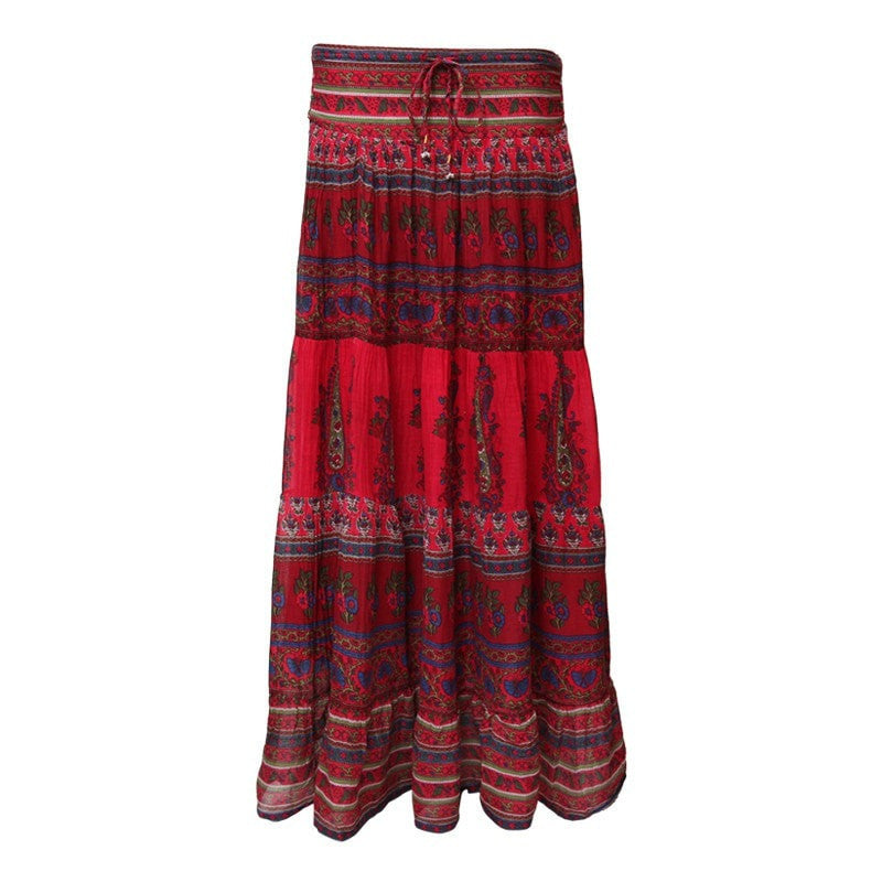 Red Gypsy Maxi Skirt