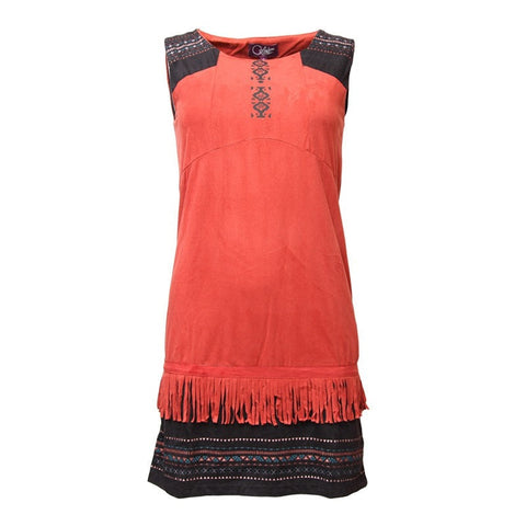 Faux Suede Fringe Shift Dress