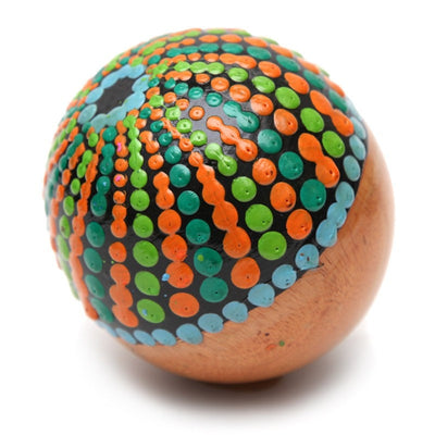 Wooden ball Maraca with painted dots