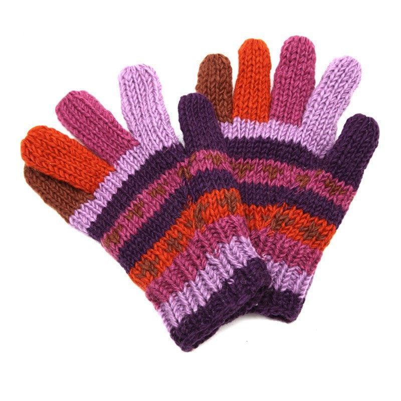 Woollen Purple Striped Gloves