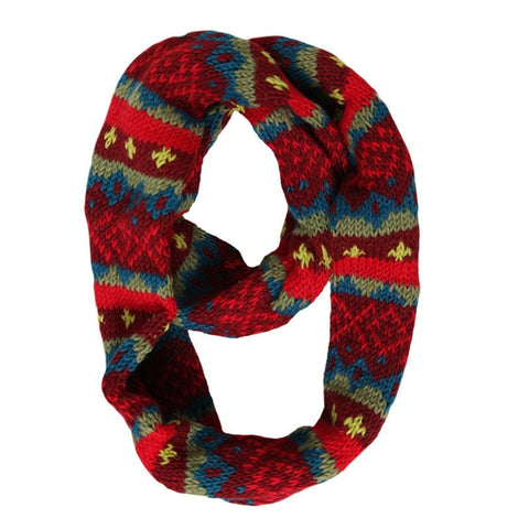 Men's Red Patterned Knitted Snood