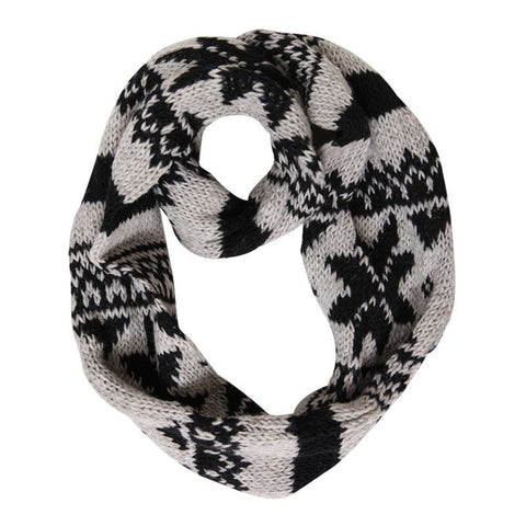 Grey Fair Isle Knitted Circle Scarf