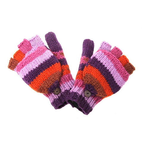 Purple Striped Fingerless Mitten Gloves
