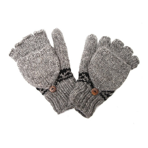 Grey Fairisle Fingerless Glove Mittens