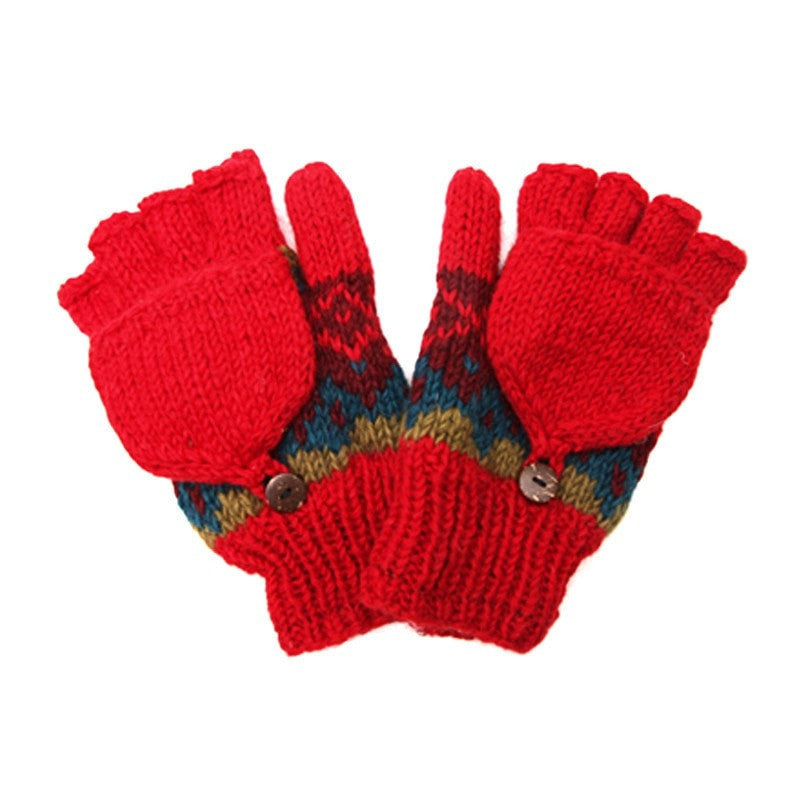 Red Patterned Fingerless Glove Mittens