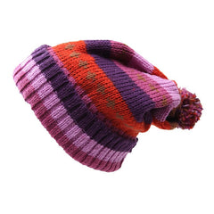 Purple Striped Pom Slouch Beanie