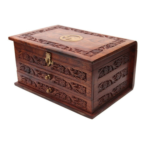 Hand Carved Jewellery Box With Drawers