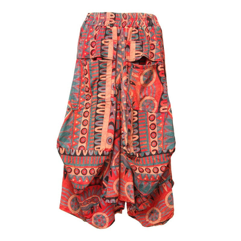Tribal Printed Midi Skirt with Large Pockets