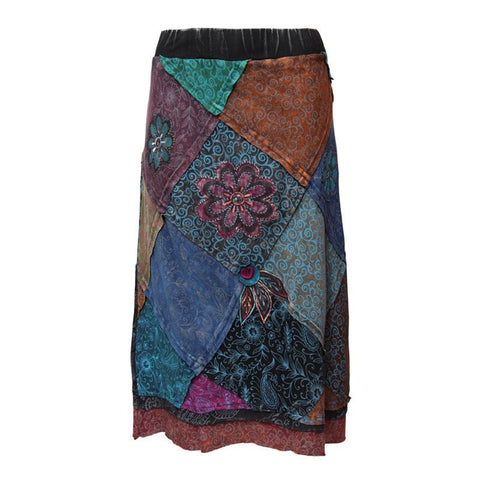 Patchwork & Applique Flower Midi Skirt