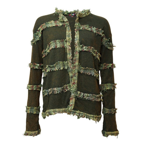 Green Cotton Jacket with Frayed Detail