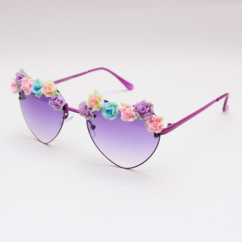 Hearts With Flowers Sunglasses